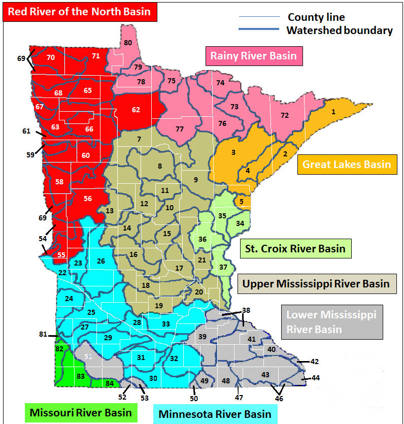 map of Minnesota watersheds